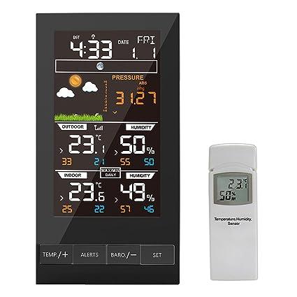 humedad y bar/ómetro Inal/ámbrico Color Forecast Station Despertador con temperatura Protmex Estaci/ón meteorol/ógica