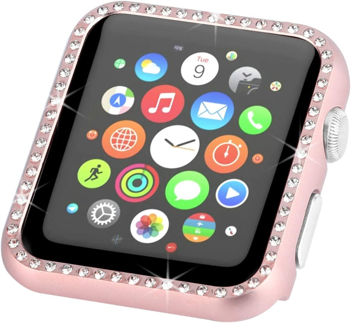 Fashion Metal Case with 3D Bling Crystal Diamonds Plate Protective Cover Ultra Thin Bumper Compatible for Apple Watch 38mm 42mm 40mm 44mm SE Series 6 Series 5 Series 4 3 2 1, Rose Gold, 44mm