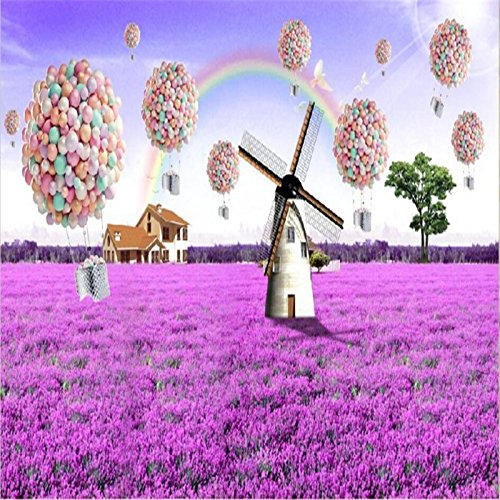 ShAH Lavender Windmill Lavender Windmill Ballroom Bedroom Living Room Tv Backdrop 200cmX100cm