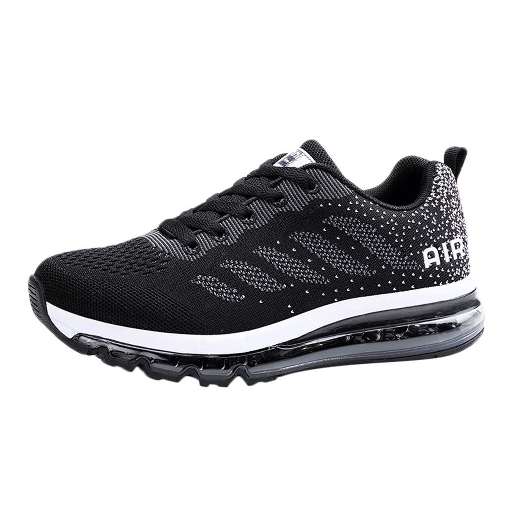 HOSOME Couple Walking Casual Shoes Air Cushion Running Jogging Sports Walking Breathable Training Sport Sneakers Black