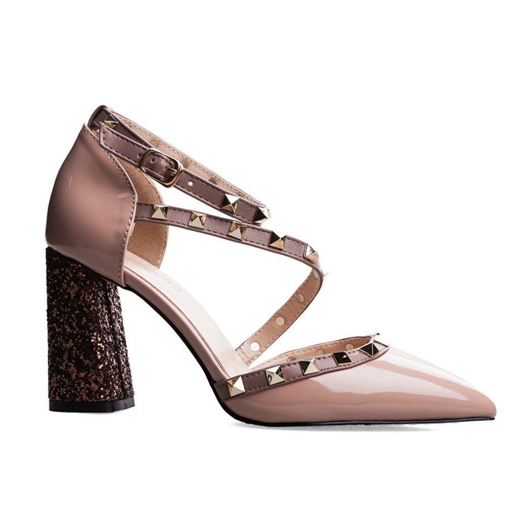 Studded Studded Studded Sandals Sommerfrauen Roman Dicksohlen High Heels 0784b6
