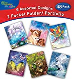 New Generation - Fantasy - 2 Pocket Folders/Portfolio 48 Pack Letter Size with 3 Hole Punch Two Pocket folders Heavy Duty Glossy Finish UV Laminated Folder - Assorted 6 Fashion Design.