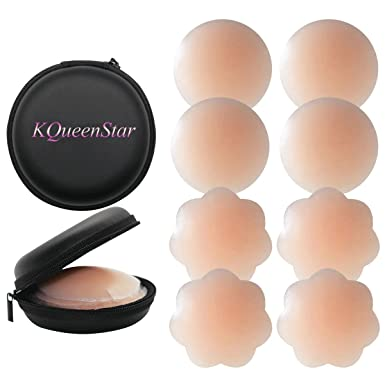 KQueenStar Nipple Cover - Silikon Nippelabdeckung Gel Brustwarzenabdeckung Selbstklebend & Wiederverwendbar Brust Aufkleber u