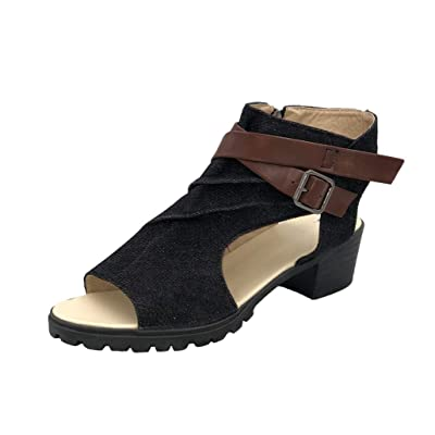 MayBest Womens Low Heel Ankle Buckle Wedge Sandals Cut Out Cushioned Strap Bootie Boots | Platforms & Wedges