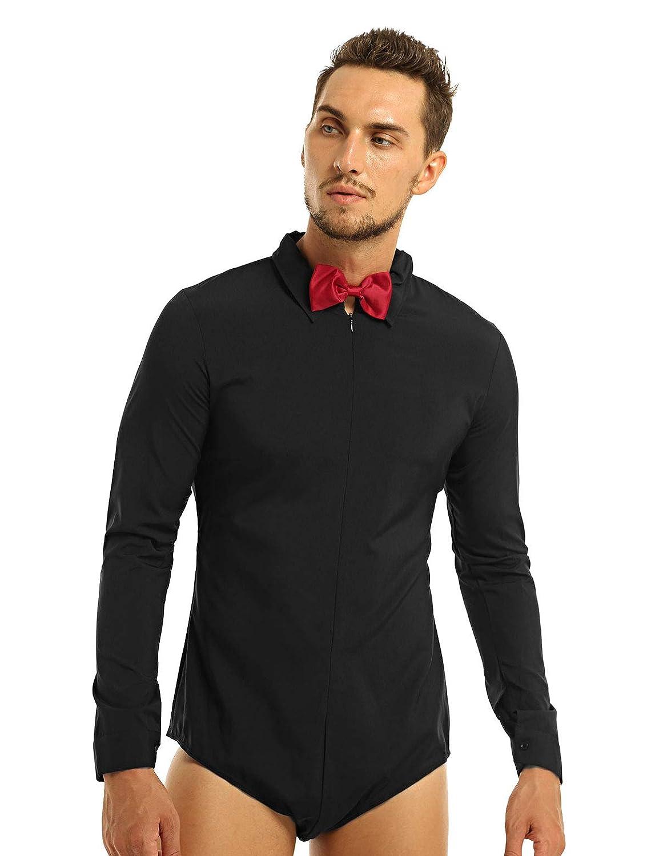 YONGHS Mens Long Sleeve Latin Modern Dance Shirt Leotard Waltz Tango Salsa Rumba Costume
