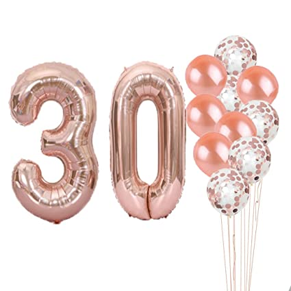30th Birthday Decorations Party Supplies30th Balloons Rose GoldNumber 30 Mylar Balloon