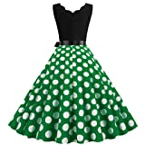 Women Summer Dot Print Dress Vintage Sleeveless