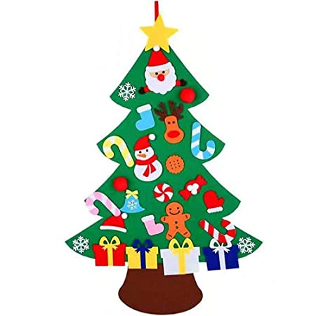 XONOR Albero di Natale in Feltro Fai da Te con Ornamenti per Bambini,  Regali di Natale, Decorazioni per Appendere Le pareti di Capodanno (B)