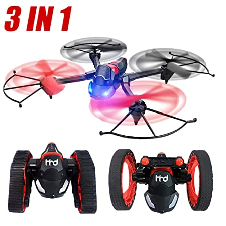 Botrong RC Drone de Coche Volador 3 en 1 RC Tanque Rebote Coche ...