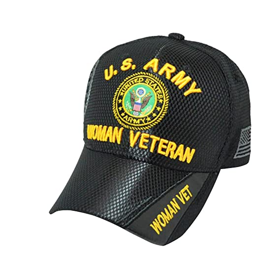 US Army Woman Veteran Mesh Hat Cap United Stated Military American Flag  Strap Back Hat by US Warriors
