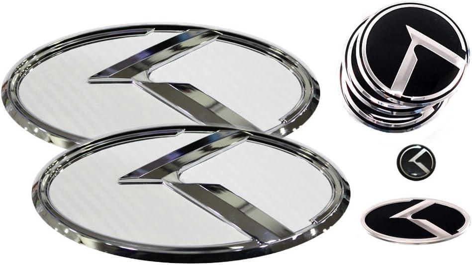 3D K Logo Emblem Carbon Fiber /& Chrome Edition Set 8pc Front Wheel Cap Steering Wheel Rear Mini Sticker Fits: KIA 2018+ Stinger