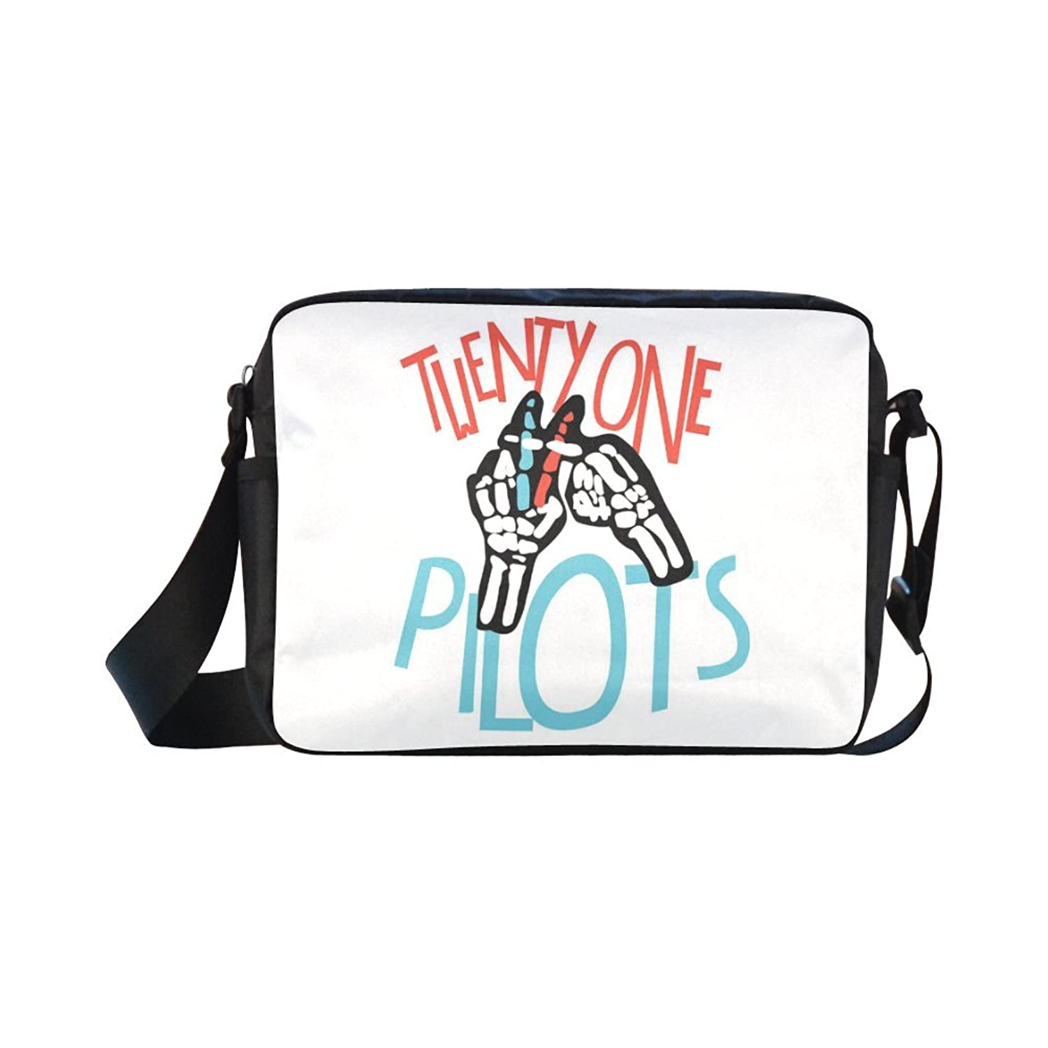 DOROT Twenty One Pilots Band Logo Unisex Nylon Waterproof Material Black Cross-body Nylon Bags Shoulder Bag