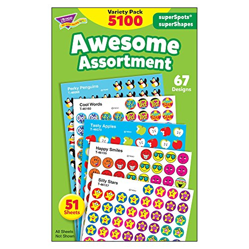 Mini Reward Stickers - Awesome Assortment: SuperSpots® & SuperShapes Stickers Variety Pack, 5100 Stickers