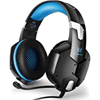 EasySMX PS4 PC CellPhones Stereo Gaming Headset Also for Laptop Mobile Phones Tablet Adjustable Microphone Volume Control One-Key Mute (Blue)