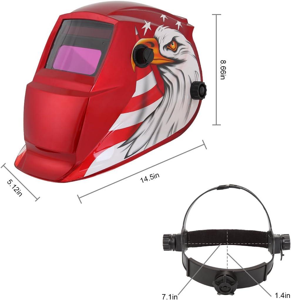 9-13//5-14 Range Mask for ARC MIG TIG Welding Machine Red Welder Helmet,Solar Powered w//Auto Darkening Hood and Adjustable Shade Sensitivity