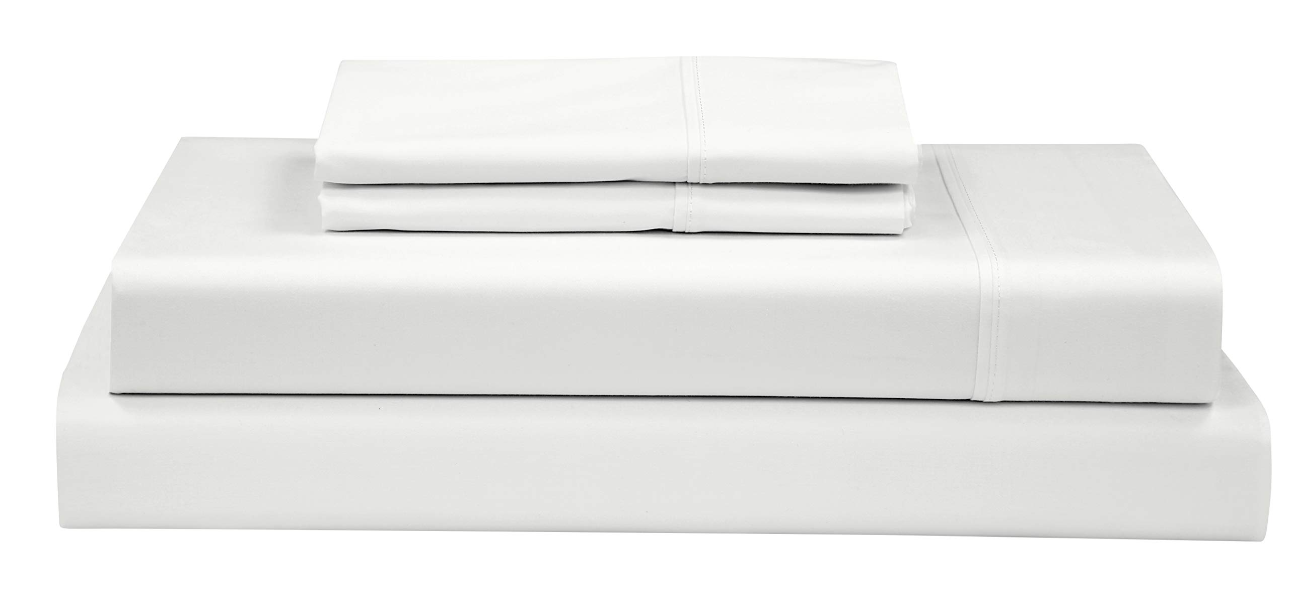 Boston Linen Co. 500 Thread Count, 100% Cotton Sheet Set - Extra Soft, Luxury Finish - Smooth and Silky Sateen Weave Long-Staple Combed Cotton - 4 Piece Set - King, White