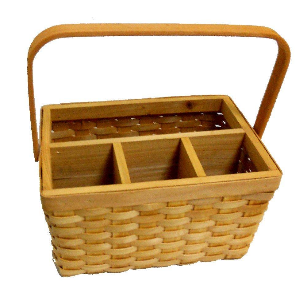 Amazon.com - Wicker Woven Utensil Caddy Picnic Basket - Kitchen ...