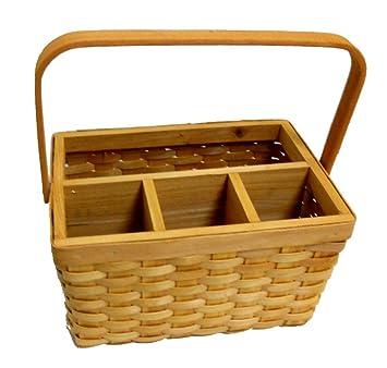 otc wicker woven basket bbq picnic eating utensil caddy flatware silverware holder organizer container - Silverware Holder