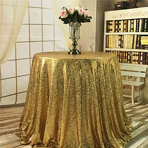 """TRLYC 72"""" Round Custom Gold Table Fabric Sequin Table Cloth"""
