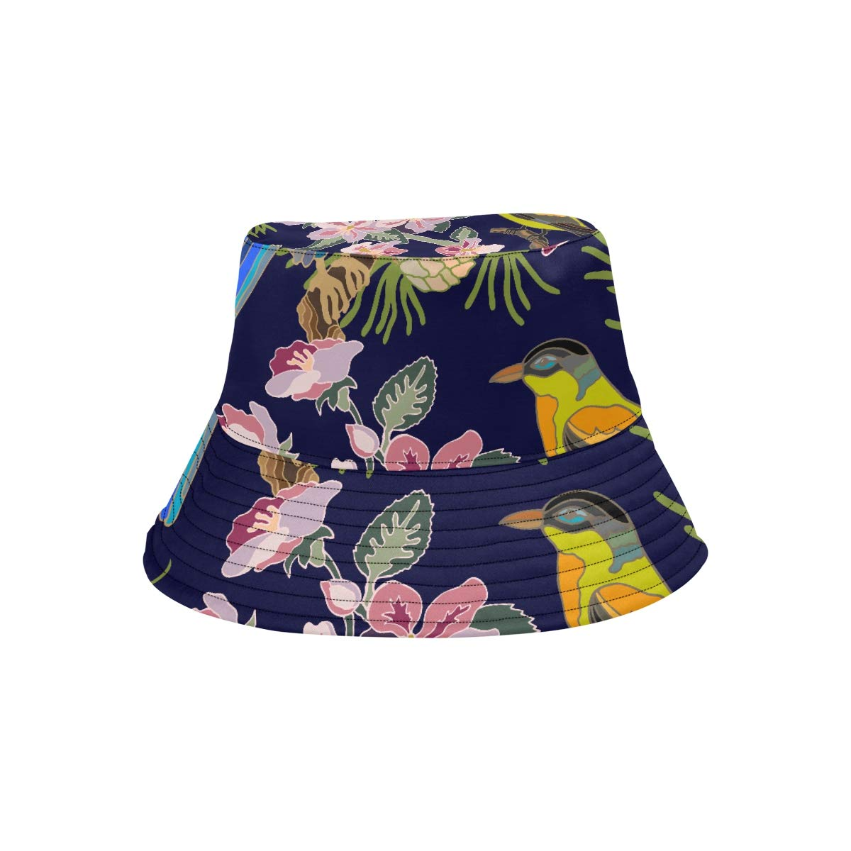 Kawaii Japanese Garden Flowers and Birds New Summer Unisex Cotton Fashion Fishing Sun Bucket Hats for Kid Teens Women and Men with Customize Top Packable Fisherman Cap for Outdoor Travel