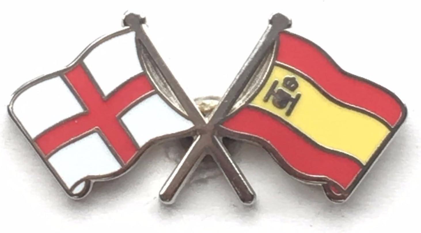 Inglaterra San Jorge & ESPAÑOL España Amistad Banderas INSIGNIA CON ALFILER DE SOLAPA ESMALTADA: Amazon.es: Hogar