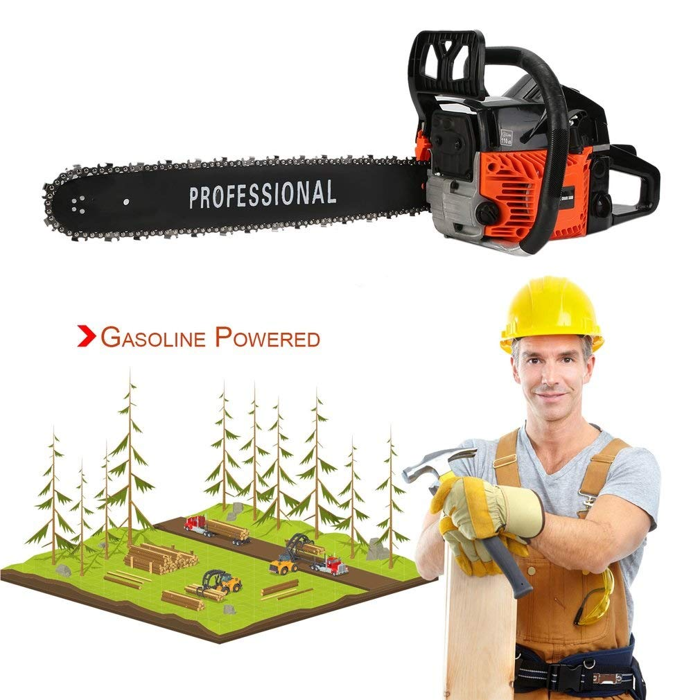 IOOkME-H 18'' 45CC Gas Chainsaw 2 Cylinder Automatic Gas Powered Chain Saw Professional Great Handbar Electric Chain Saws (Black-red)