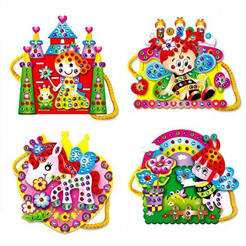 akimgo (TM) EVA dibujos animados bolsas de mano DIY hand-sewn Diamond juguetes educativos para niños
