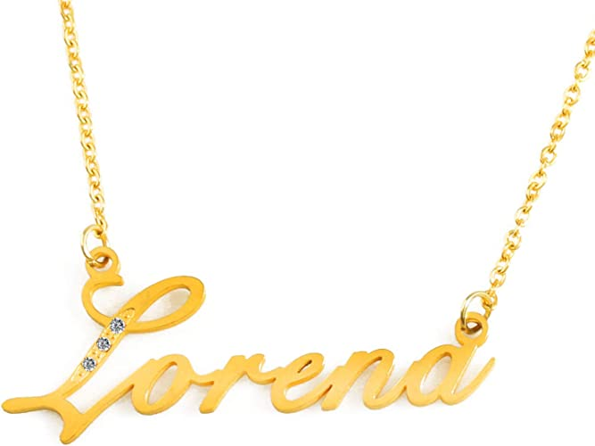"""Goldtone Name Necklace 16/"""" Chain Crystal Pendant NEW!"""