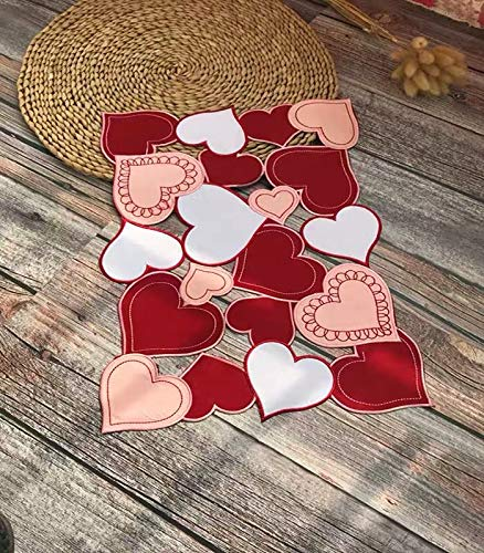 CloudSun Love Heart Table Doily Placemat Set of 4, Applique Embroidered Heart Table Topper,for Home Kitchen Dining Room Mother's Day Table Top Decoration,13