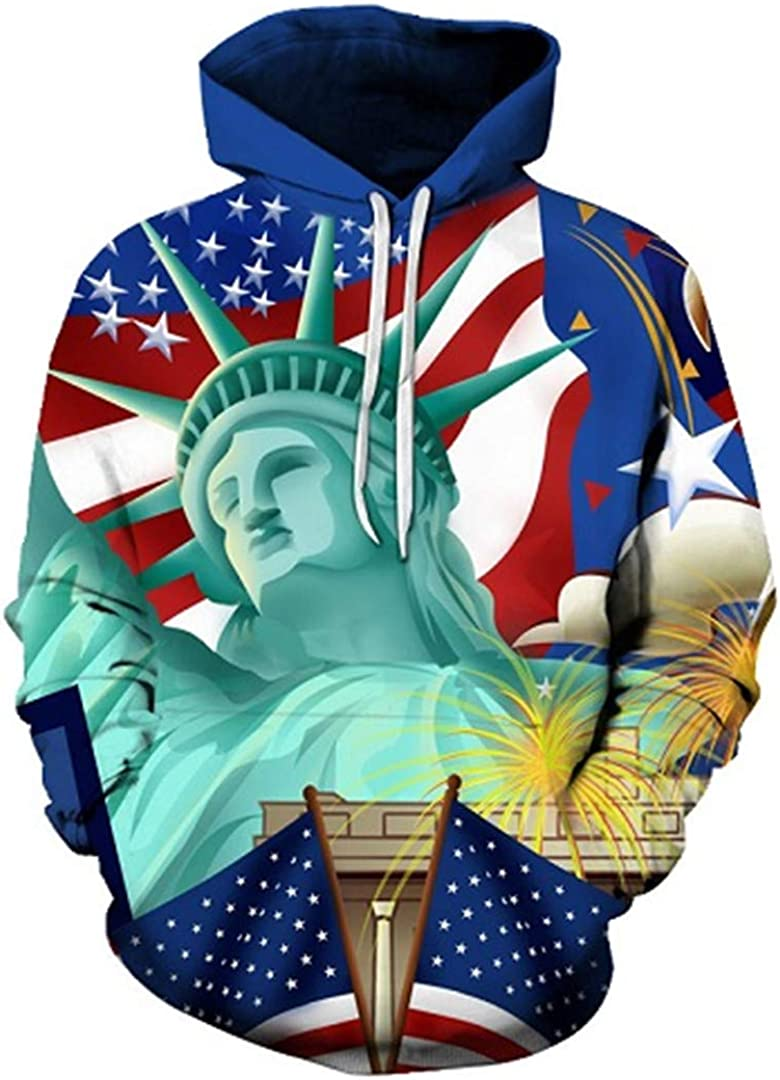 Statue of Liberty 3D Sweatshirts Hoodies with Hat Print Winter Loose Thin Hooded Hoody Tops