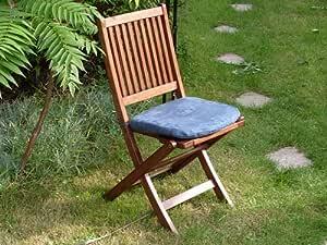 Faux Suede Garden Chair Cushion - Denim Blue
