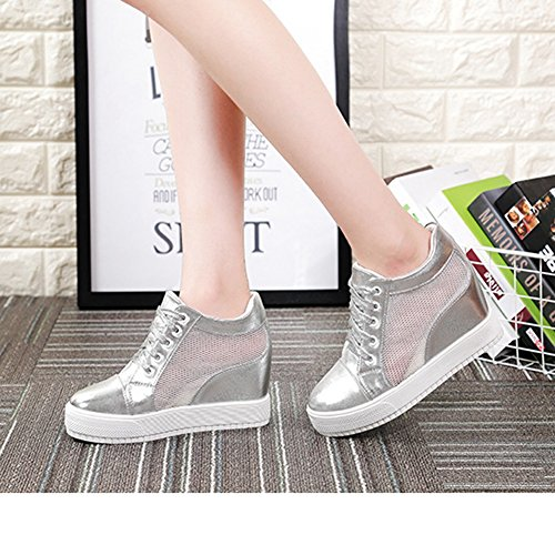 Platform Lace Increase Shoes Internal silver Sneakers Casual Fashion Sneakers Wedges Women's Breathable Uppers Mesh xC04q4pw