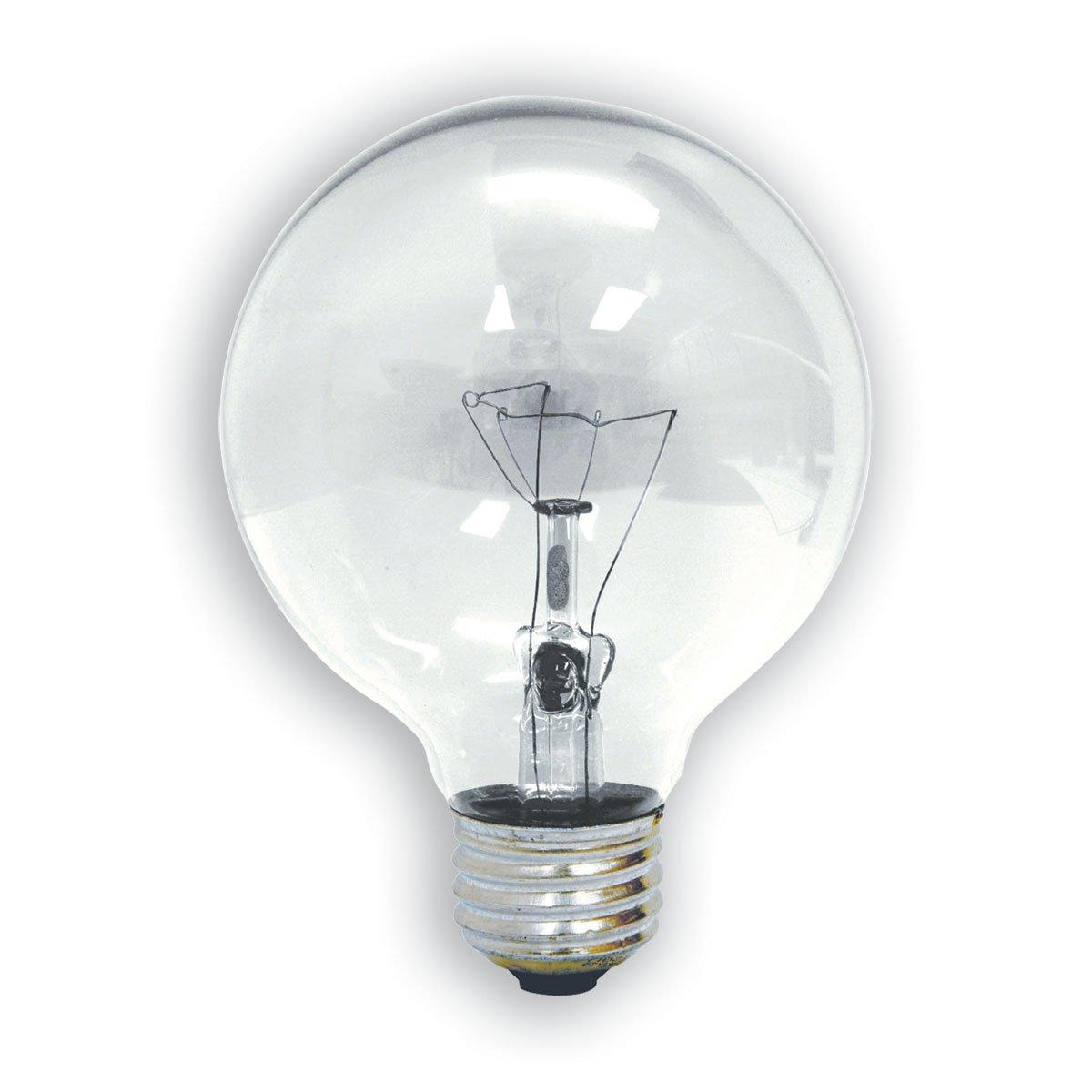 GE Crystal Clear 31109 40-Watt, 310-Lumen G16.5 Light Bulb with Medium Base, 2-Pack