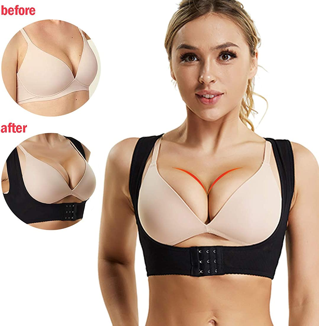 WOWENY Chest Brace up for Women Posture Corrector Shapewear Bra Support Strappy Compression Vest