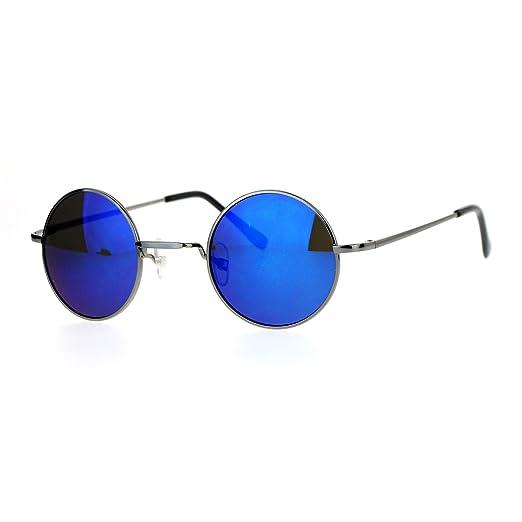 Amazon.com: Small Round Circle Frame Sunglasses Metal Spring Hinge ...