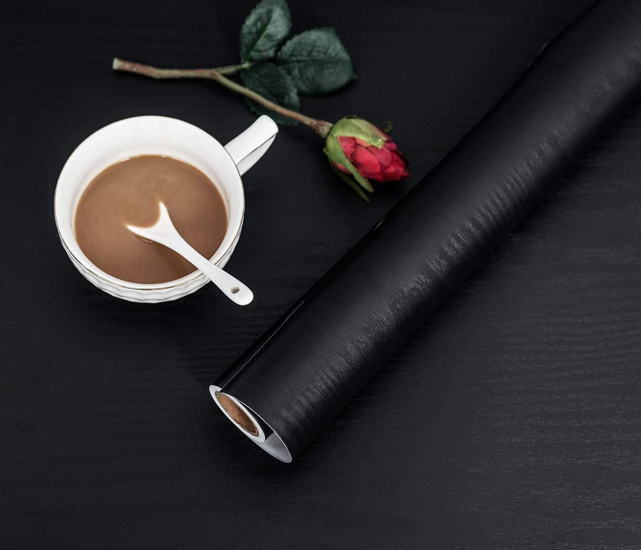 200 cm Papier de contact de grain de bois noir Papier peint auto-adh/ésif Film de vinyle autocollant d/écoratif Durable Amovible /Étanche Cuisine Comptoir Meubles Tablette Tablette R/énov/é 30 cm