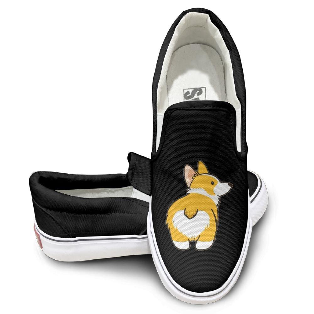 SH-rong Corgi Butt Unisex Canvas Sneakers Shoes Size 40 Black