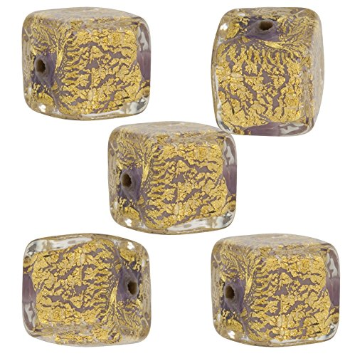 (Viola Cracked Gold Foil Cube 10mm, 5 Pieces Authentic Murano Glass Bead)