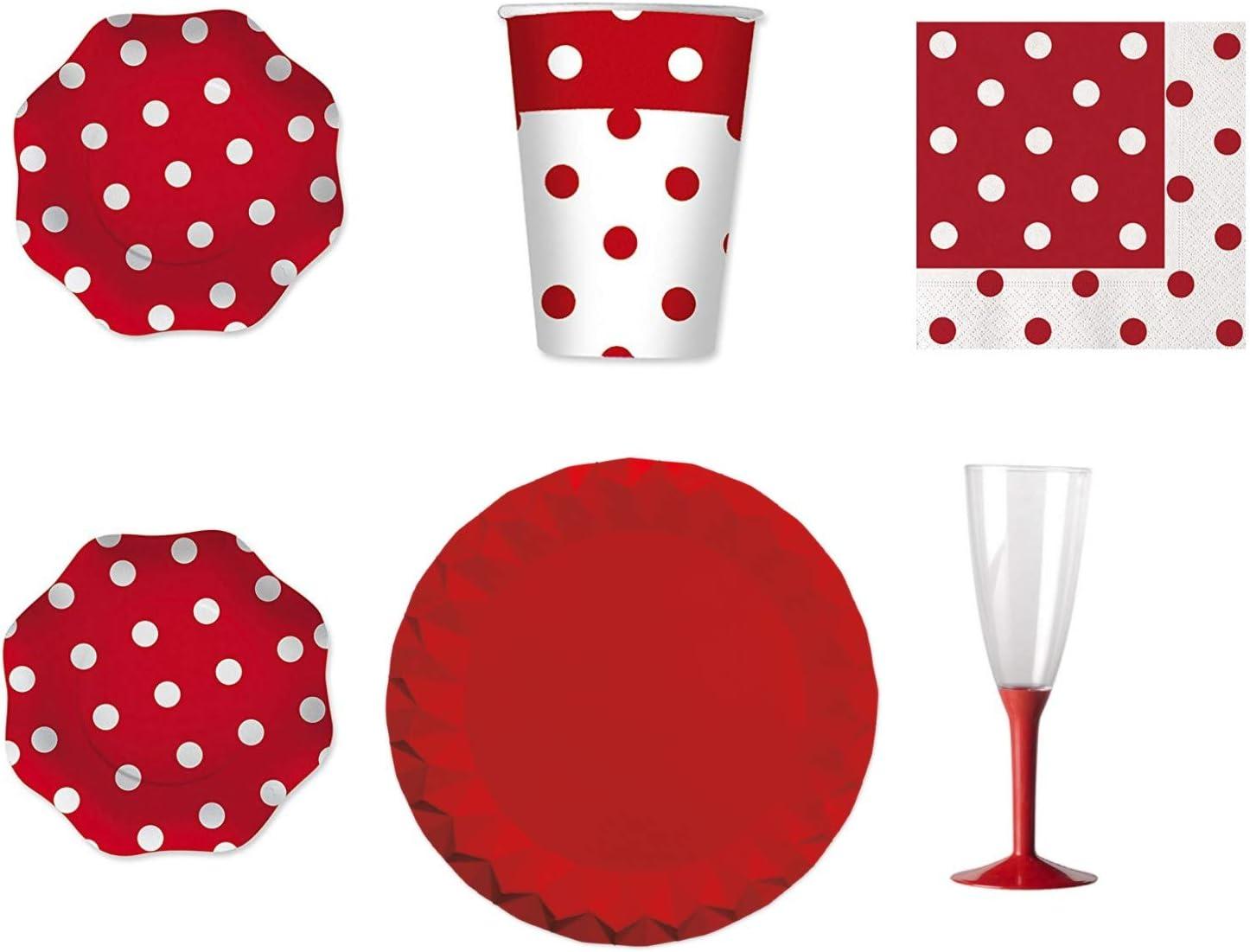 coordonn/é Pois Rouges de Table pour f/ête et Party Kit N.20/ / 40/Assiettes, Verres, 40/Serviettes, 40/Fl/ûte avec Base Rouge