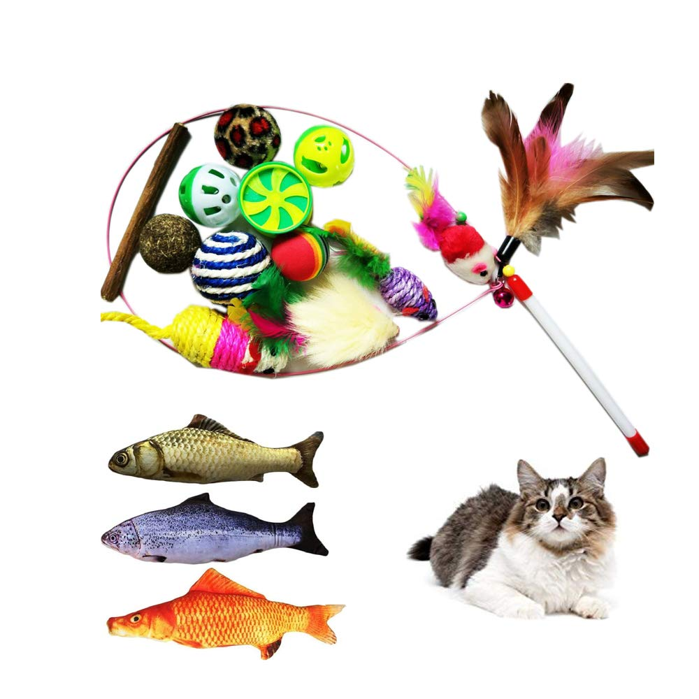 JPDX Variety Pack for Cats Kitty 16 Pieces Assorted Cat Toys Set Cat Teaser Wand Catnip Fish Interactive Cat Feather Toy Fluffy Mouse Crinkle Balls for Cat Kitty Kitten