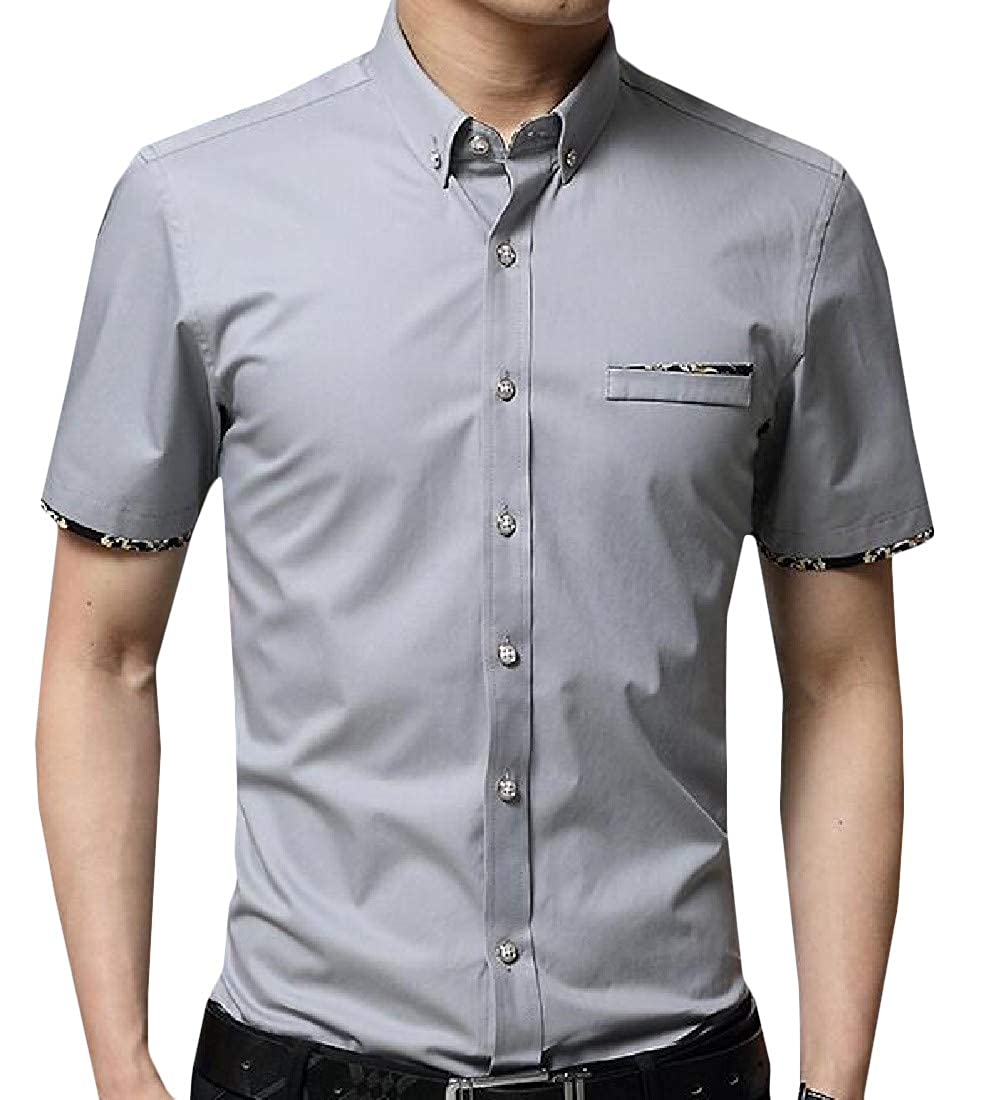 Macondoo Men Short Sleeve Button Down Thin Casual Business Slim Fit Shirt