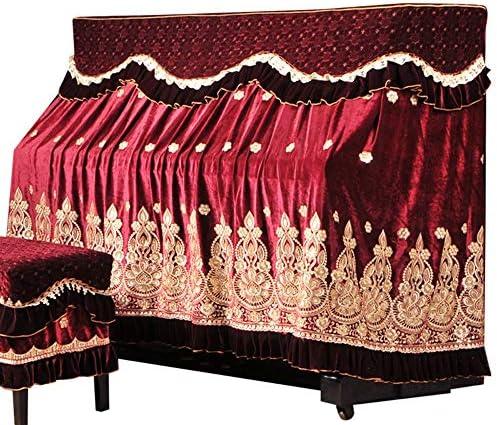 ピアノ保護カバー スツールカバー付きアイスシルク韓国フリース刺繍ピアノのフルカバーの生地レース刺繍防塵衣 (色 : 赤, サイズ : 56x36cm)