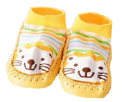Zapatillas calcetines bebé con suela antideslizante de 6 a 24 Meses Multicolor amarillo Talla:6
