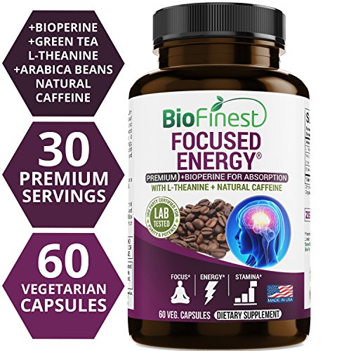 Biofinest Focused Energy Brain Support Supplement – Boost with 100mg Natural Caffeine, 200mg L-Theanine Pills – For Smooth Energy, Memory, Focus, Clarity – No Crash No Jitters (60 Vegetarian Capsules) Review