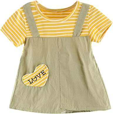 Lurryly Toddler Kid Baby Girl Striped Letter Heart Printed Party Princess Dress Clothing