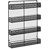 totoshop New Black 4 Tier Large Wall Mounted Wire Spice Rack Organizer