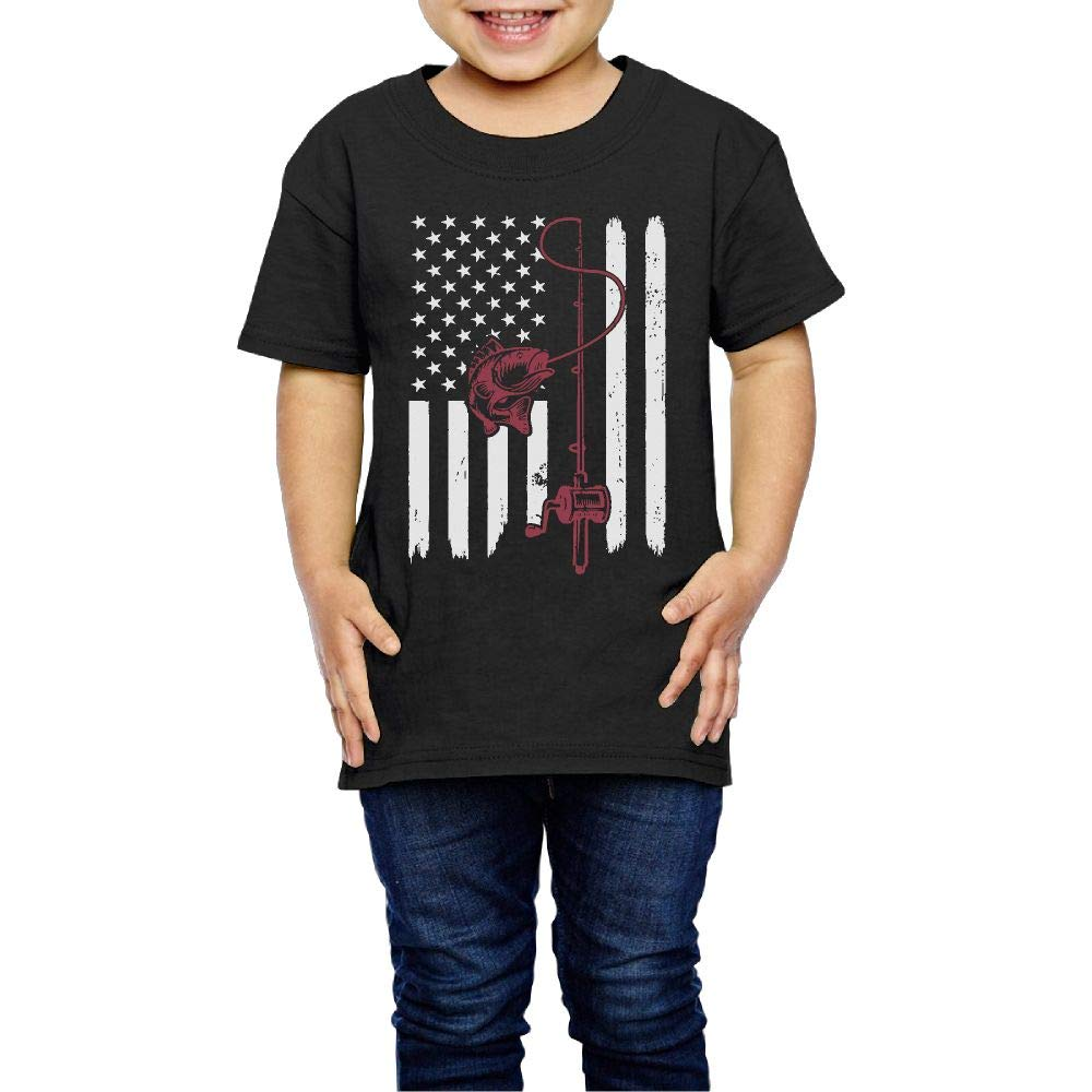 XYMYFC-E Vintage Fishing American Flag 2-6 Years Old Children Short-Sleeved Tshirts