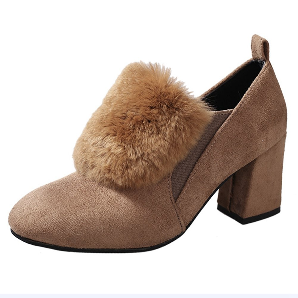 T-JULY Womens High Heels with Fur Fashion COMFRT Synthetic Slip On Moccasins Loafers Shoes