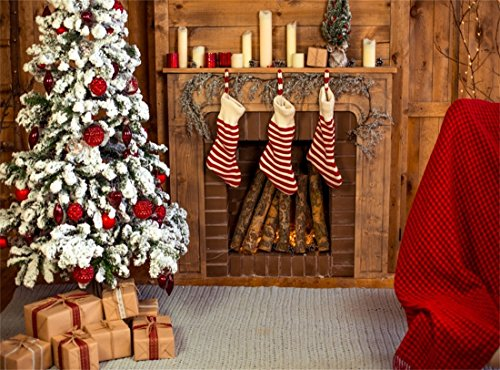 Leowefowa 9X6FT Vinyl Photography Backdrop Christmas Decoration Tree Fireplace Stocking Candle Gifts Box Carpet Interior Background Kids Children Adults Photo Studio Props Review