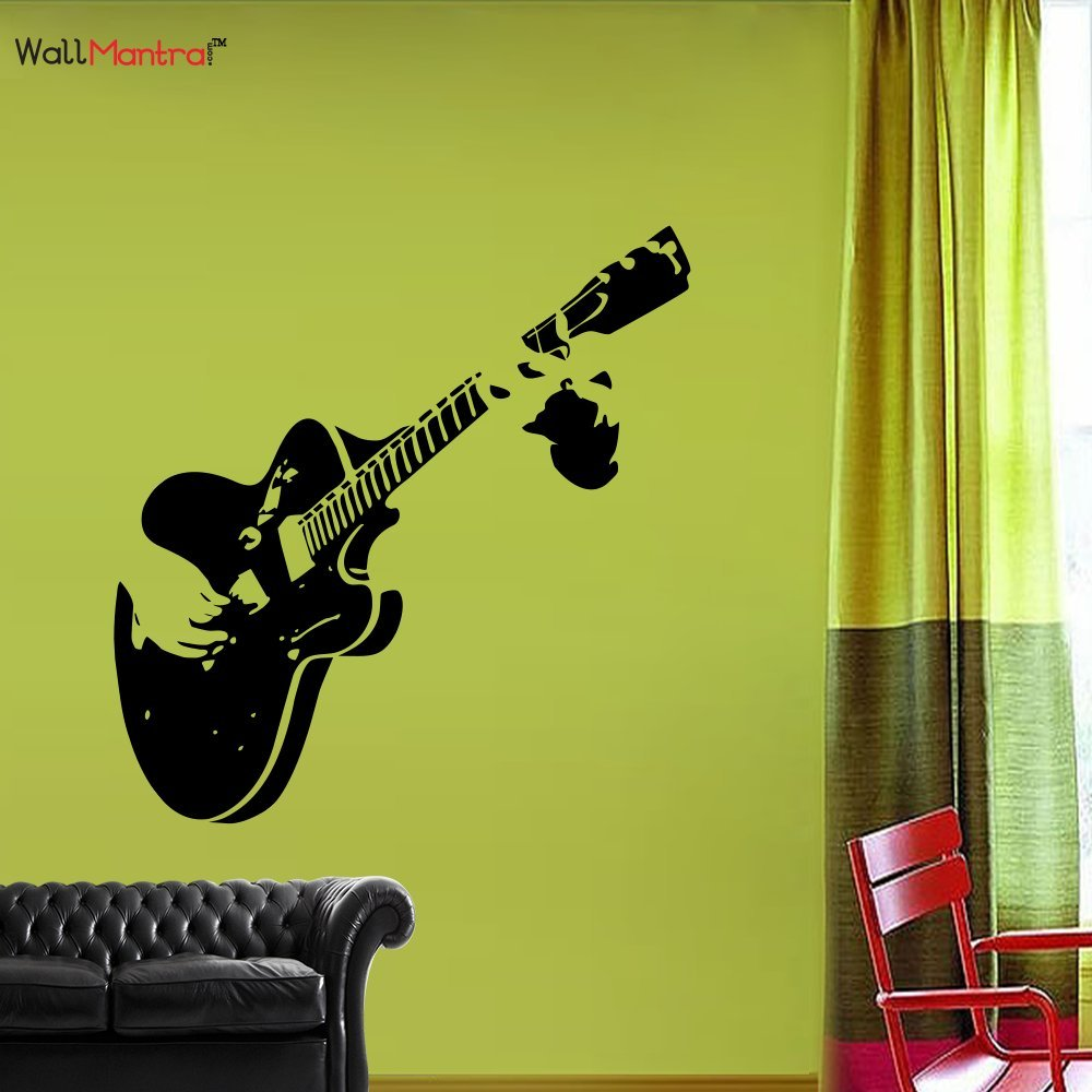 Buy Wallmantra Guitar Music Wall Sticker For Living Room (122 X 50 ...